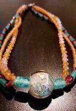 Chinese Dragon Beautiful Amber Blue Glass Three Strand Glass Bead Necklace