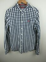 Superdry Mens Shirt Size L Long Sleeve Button Up New York Fit Blue White Check