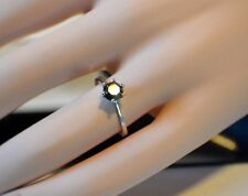 14K White Gold 6 Prong 1 Carat Genuine  Black Diamond Solitaire Engagement Ring