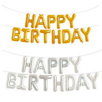 """17""""Self Inflating Happy Birthday Banner Foil Balloon Bunting Gold Silver Letters"""