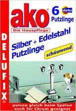 Delu AKO Delufix Silber + Edelstahl Putzlinge, Pflegetücher 6 Stück  Silber Tuch