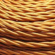 Old Gold Silk Covered  Cable Double Insulated 3 Core x  0.50mm Sold Per Metre