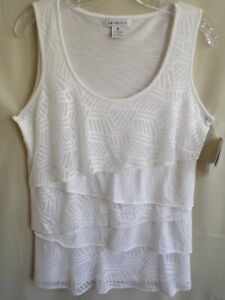 Liz Claiborne Women's Top Sleeveless Size M Lace/Knit Tiered Tank White New