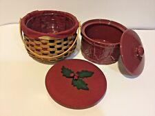 2003 Longaberger Christmas Caroling Basket Mega Combo w/ Paprika Drum Crock Set