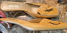 WOMENS DESIGNER PRADA ITALY BEIGE TAUPE MUSTARD MULES SLIDE SEXY SHOES 41 10 9.5