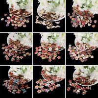 50/100Pcs Flower Butterfly Star Wooden Buttons 2 Holes Sewing Scrapbooking DIY