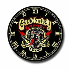 GAS MONKEY GARAGE METAL CLOCK,250MM DIAMETER, TOOLS, TV,OIL,CARS,PETROL HEADS
