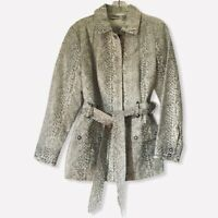 Chicos Womens Jacket Ivory Gray Snakeskin Flap Pocket Belted Collared 1 M/8  New
