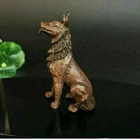 Old Antique Tea Pet Collect Pure Solid Copper wolfhound wolf-dog Handwork Statue