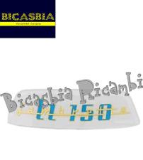 10956 - TARGHETTA BLU ORO 150X39 PER TELAIO POSTERIORE LAMBRETTA LI 150