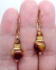 Handmade Natural Yellow Tiger's Eye Gemstone 14K Gold plated Dangle Earrings