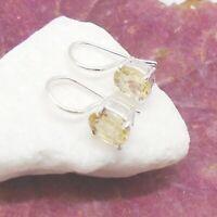 Citrin oval gelb schlicht Design Ohrringe Ohrhänger 925 Sterling Silber neu