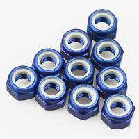 10PCS ALIENTAC Aluminum M4 Blue Nylon Hex Insert Self-Lock Nuts
