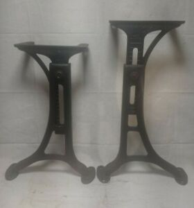 Vtg Cast Iron Kenney Wolkins Boston No.5 Adjustable Industrial Legs Table Base