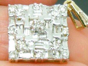 9ct Gold 0.50ct Baguette & Round Diamond Cluster pendant