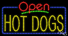 """New """"Open Hot Dogs"""" 32x17 Solid/Animated Real Led Sign W/Custom Options 25519"""