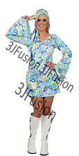 Ladies 1960s 1970s Hippy Fancy Dress Costume Hippie Flower Power Womens Outfit W