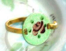#1492O Vintage Ring Guilloche Enameled Enamel Rose Handpainted Floral 7.5