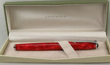 Levenger True Writer Red Marble & Chrome Fountain Pen - Fine Nib - New