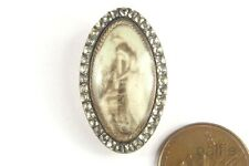 Antique Georgian Period English Gold & Silver Paste Sepia Mourning Slide c1788