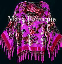 Pink Gypsy Rose Jacket Short Kimono Beaded Silk Burnout Velvet Maya Matazaro