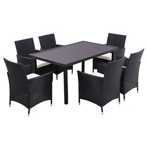 105/150cm Rattan Dining Table Garden Patio Glass Top Tables Outdoor Furniture UK