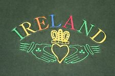 Ireland green embroidered t shirt claddagh heart large