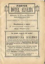 Stampa antica pubblicità HOTEL ELVEZIA e IPERBIOTINA MALESCI 1899 Antique print