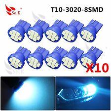 10x Aqua Ice Blue T10 Wedge 8 LED Bulbs For Car License Plate Light 168 194 2825