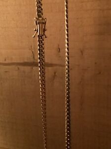 "14k Solid Yellow Gold 4mm Men Women Miami Cuban Link Chain, Size 24"", 30.1 Gram"