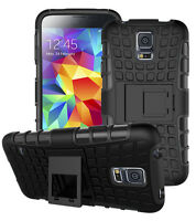 Samsung Galaxy S5 / S5 Neo Heavy Duty Armor Phone Case Cover with Stand - Black