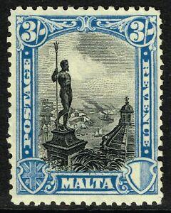 SG 207 MALTA 1930 - 3/- BLACK & BLUE - MOUNTED MINT