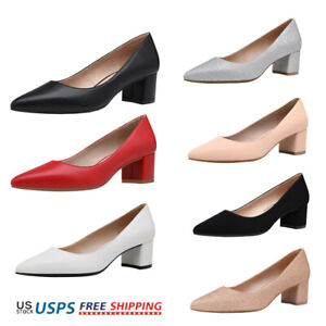 Womens Chunky Low Block Heel Pointed Toe Slip On Dress Pump Shoes 5-11 US