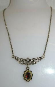 Tracht Collier Granat Echtschmuck 835er Silber Fassung vergoldet