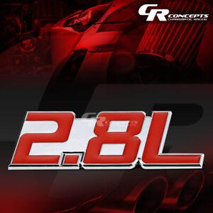 3M TAPE ON AUTO BODY METAL EMBLEM LOGO TRIM BADGE POLISHED CHROME RED 2.8L 2.8 L