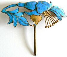 LARGE Qing Dynasty Kingfisher feather Hair Pin Antique VINTAGE Chinese 點翠