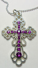 "55mm filigree cross, purple stones, 18.5''+2"" ball chain"