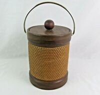 "Vintage Kraftware Ice Bucket Wood Wicker Mid Century 10"" Tall MCM Bar Kitchen"