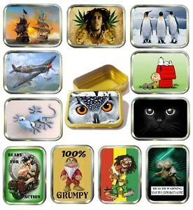 2oz Gold Tobacco Tin,12 Designs to Choose , Storage Tin, Bait Box, Pocket Tin