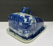VICTORIA WARE BLUE WHITE CHEESE KEEPER DISH IRONSTONE W/ PLATE LARGE TRAFALGAR