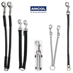 Ancol Double Dog Coupler Couple Lead Twin Black Single Bungee Chain Steel Absorb