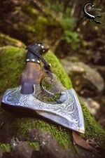 VIKING HAND FORGED CARBON STEEL BLADE TOMAHAWK HATCHET COMBAT AXE HUNTING Free S