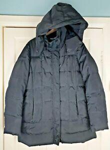 Zara Basic Women Black Down Padded Hooded Jacket Coat Size L