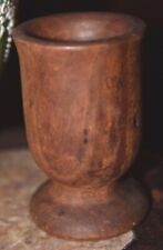 "4.75"" ANTIQUE PRIMITIVE OLD DARK WOOD WOOD WOODEN MORTAR SPICE GRINDING BOWL CUP"