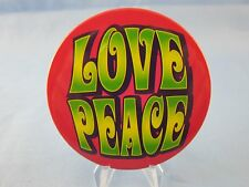 VINTAGE 1960's STYLE PINBACK BUTTON ***LOVE PEACE*** HIPPIE, ANTI WAR ERA ~L@@K~