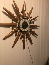 MID Century Seth Thomas Intrigue Starburst Atomic Sputnik Teak Wall Clock 24""