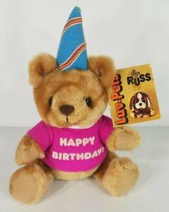 NWT Vintage Russ Luv-Pets Happy Birthday 8 inch beige tan teddy bear plush 1979
