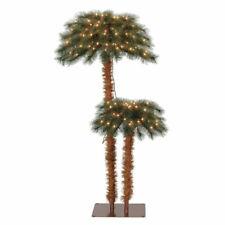 Island Breeze Pre-Lit Artificial Tropical Christmas Palm Tree w/ White Lights