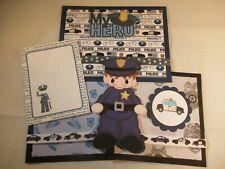 MY HERO - POLICE  3D PAPER PIECING  SCRAPBOOK PAGE MAT SET