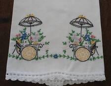 Vintage Cotton Pillowcase Set Embroidered Flower Basket Cart Lace Edge